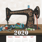2020 Calendar Towel Singer Sewing Machine