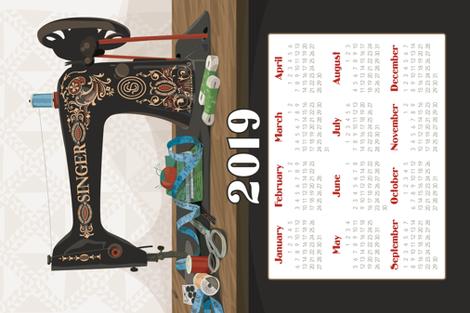 2019 Calendar Towel Singer Sewing Machine fabric by richardcreative on Spoonflower - custom fabric