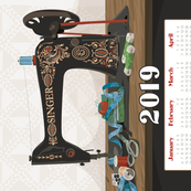 2019 Calendar Towel Singer Sewing Machine