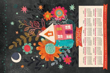 Love & Dreams Tea Towel Calendar - UPDATED for 2016! fabric by jennartdesigns on Spoonflower - custom fabric