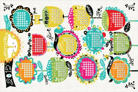 2015 Tea Towel Calendar- Be Happy! fabric by cynthiafrenette on Spoonflower - custom fabric