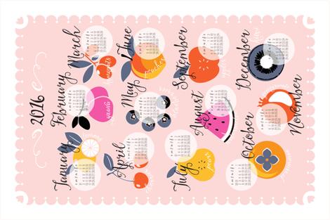 2016 Seasonal Fruit Calendar fabric by nadiahassan on Spoonflower - custom fabric