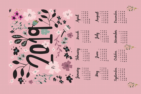 February 2019 Calendar Girly 2019 girly tea towel calendar wallpaper   pixabo   Spoonflower