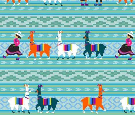 Peruvian Llama Blanket fabric by pinkowlet on Spoonflower - custom fabric