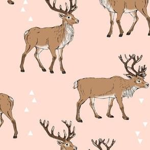 DeerFabricLightPinkWhiteTriangles