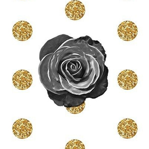 Classic Black Rose on Gold Glitter