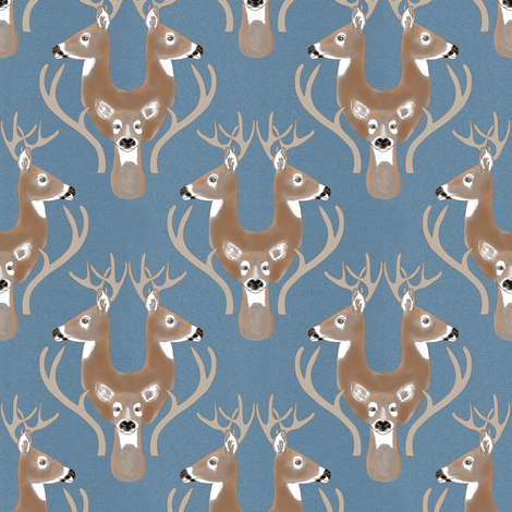 Deer Damask fabric by eclectic_house on Spoonflower - custom fabric