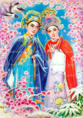 china chinese oriental ancient dynasty sakura cherry blossoms flowers trees birds magpies beijing peking opera folk tales fairy lovers couples butterfly cross dress chinoiserie asian boyfriends girlfriends traditional valentine romance