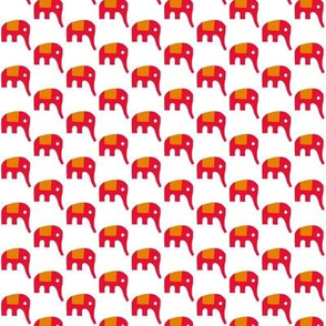 Red Elephants on White
