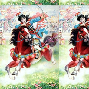 chinoiserie asian china chinese oriental man warriors soldiers war battles traditional martial arts kung fu horse riding flowers archer bows arrows