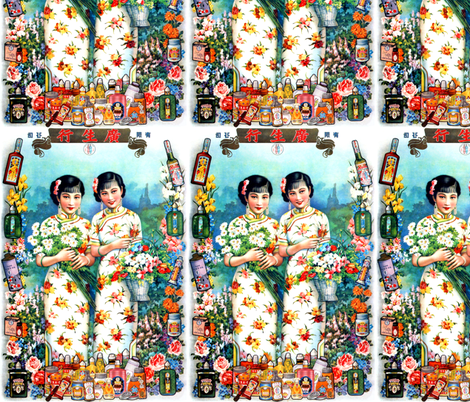 vintage retro kitsch chinoiserie asian china chinese oriental woman lady women ladies toiletries perfumes cheongsam flowers daisy shanghai bottles pinup fabric by raveneve on Spoonflower - custom fabric