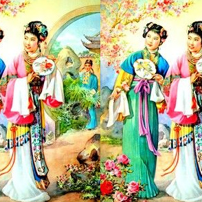 asian china chinese oriental chinoiserie ancient dynasty empress queens princess royalty palace gardens roses flowers trees suitor courtship prince love romance