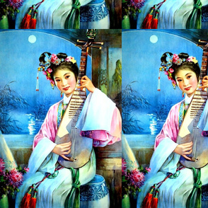 asian china chinese oriental chinoiserie ancient dynasty palace night flowers trees pavilion Chrysanthemum musician lakes rivers moon maiden pipa  traditional courtesan empress queens princess royalty