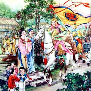 asian china chinese oriental chinoiserie hua mulan warriors traditional martial arts kung fu heroine battles wars villages family parents processions children ancient trees houses dynasty flags horses