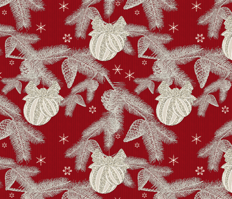 Glittering Silvery Pines Cranberry fabric by bags29 on Spoonflower - custom fabric