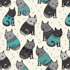 cats in sweaters // blue and grey illustration cats in holiday christmas sweaters