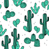 Cactus & Prickly Pears - Light Jade/Champagne