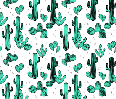 cactus // cacti summer tropical print kids southwest plants fabric by andrea_lauren on Spoonflower - custom fabric