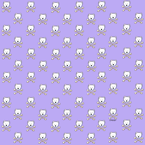 TINY Torrid Westie Crossbones fabric by kiniart on Spoonflower - custom fabric