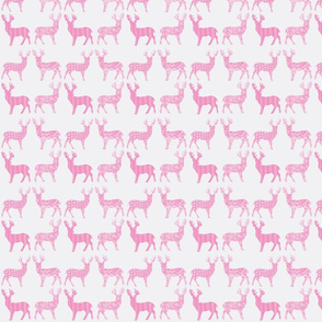Candy Pink Meadow Deer on White SMALL SCALE -ch