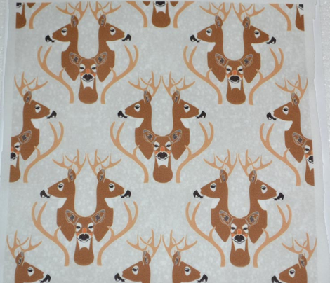 Snowy Deer Damask