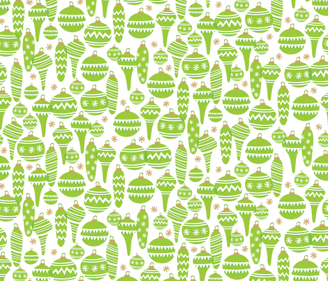 Jolly Ornaments (Green) fabric by robyriker on Spoonflower - custom fabric