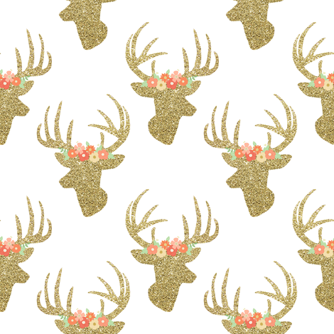 You look glitzy deer fabric by mintpeony on Spoonflower - custom fabric