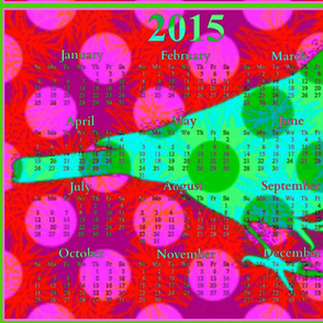 2015 Calendar -  Happy New Year Bird (With Border)