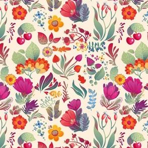 Floral doodle spring pattern