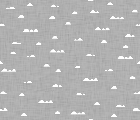 Waves (white on gray background) fabric by les_motifs_de_sarah on Spoonflower - custom fabric