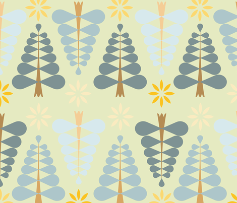 Happy_christmass_fond_vert_L fabric by nadja_petremand on Spoonflower - custom fabric