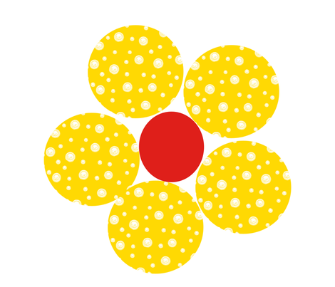 Then came the Yellow Dotty Flower  (daylight) fabric by anniedeb on Spoonflower - custom fabric