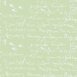Shabby Chic French script, celery green