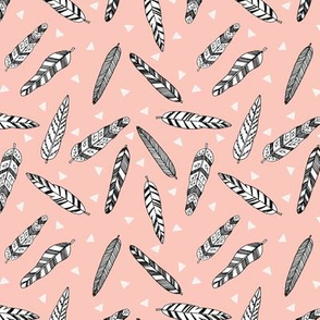 Inky Feathers fabric // (Small) - Pale Pink by Andrea Lauren