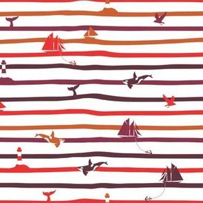 Nautical stripes waves
