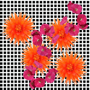 orange pink flowers black white checks tell3people