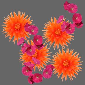 orange pink flowers gray tell3people