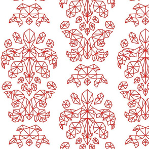 Geometric Brocade Coral Red and White