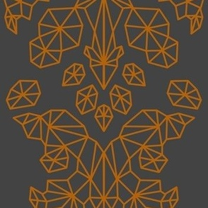 Geometric Brocade Orange and Dark Grey