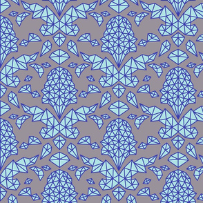 Geometric Brocade Blue and Grey
