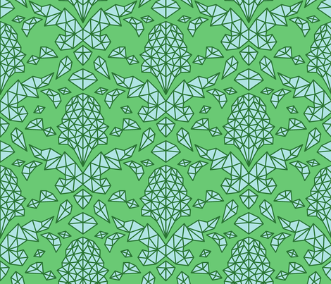 Geometric Brocade Green and Blue fabric by shelterdecor on Spoonflower - custom fabric