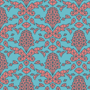 Geometric Brocade Red and Turquoise with Teal Outlines