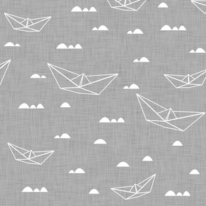 Paper boats (white on gray background)