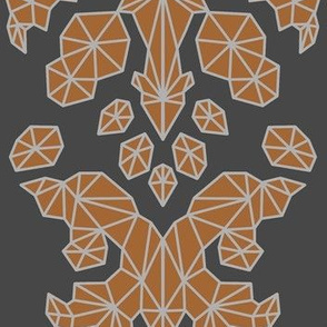 Geometric Brocade Orange and Grey