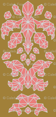 Geometric Brocade Pink, Burnt Gold, and Light Grey