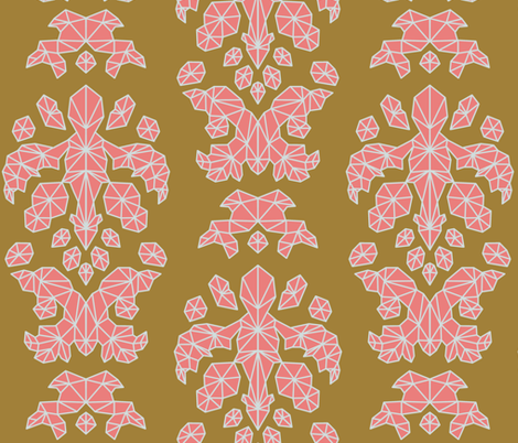 Geometric Brocade Pink, Burnt Gold, and Light Grey fabric by shelterdecor on Spoonflower - custom fabric