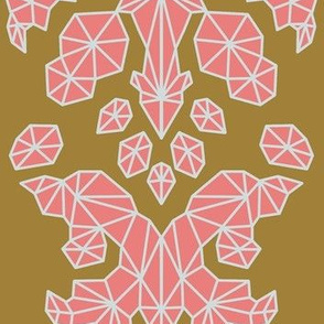 Geometric Brocade Pink, Burnt Gold, and Light Grey