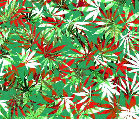 Cannabis Red/Green/White/Black Leaf Chaos fabric by camomoto on Spoonflower - custom fabric