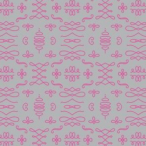Calligraphers' flourishes light grey and neon pink