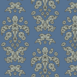Geometric Brocade Gray and Blue